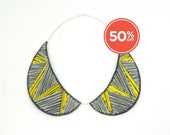 SALE!! Peter Pan Collar Necklace, Detachable Fibre Statement Bibe in Neon Yellow
