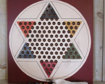Handmade Wood Chinese Checkers Game Set - RED, for Play and Wall Art, Family Game Night, Game Room Decor