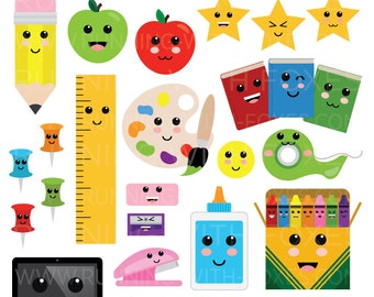 Cute Classroom Clip Art | Back to School Art Office Emoji Graphic Design | Digital Illustration Stock Icons | Personal or Commercial Use