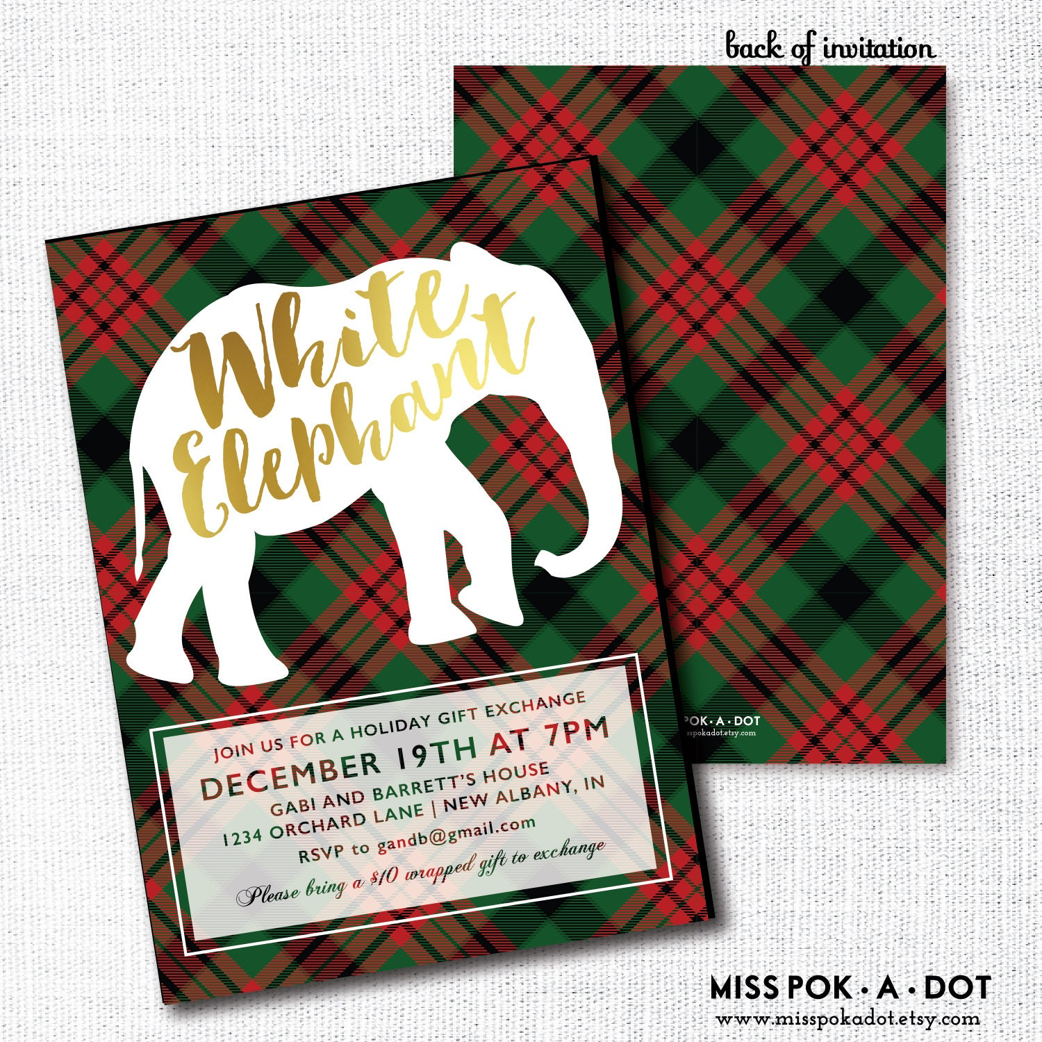 White Elephant Party Invitation Printable Gift Exchange