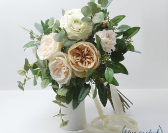 Silk Wedding Bouquet - Custom Wedding Bouquet, Peony Bouquet, Garden Rose, Cabbage Rose, Eucalyptus, Large Bouquet, Luxe Bouquet, Peach Pink