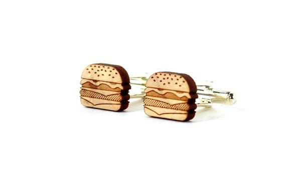Cheeseburger cufflinks - hamburger cuff links - burger - junk food - lasercut maple wood - kitsch accessory for the groom - original wedding