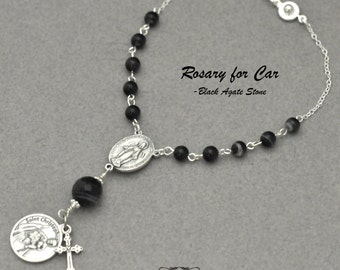 Rosary, Rear View mirror Hangers, St. Christopher,Car Crucifix,communion favors,Auto Rosary,easy hang,First Communion Gift,Confirmation Gift