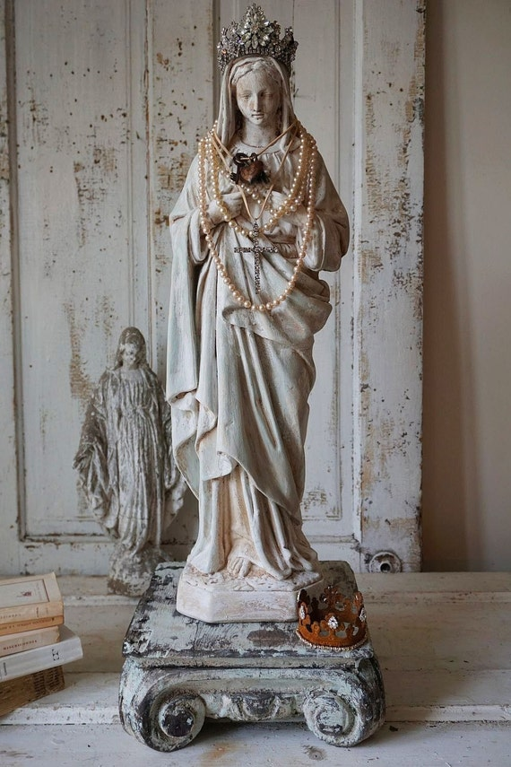 Virgin Mary Statue Shabby French Nordic White With Pale Blue
