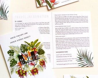 Modern Brooklyn Bird of Paradise and Palms Tropical Custom Wedding Stationery – invitation, rsvp, travel pamphlet, and on the day cards