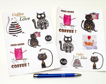 Cool stickers for diary STICKERS set Laptop stickers sheets of 4 Funny stickers planner Coffee laptop stickers Cute stickers Gift under 10