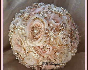 PINK AND GOLD Jeweled Bouquet - Deposit for a Custom Pink Ivory Gold, Rose Gold Brooch Bouquet, Gold Brooch Bouquet, Custom Brooch Bouquet