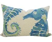 Blue Seahorse Pillow, Nautical Lumbar Pillow, Watercolor, TheWatsonShop