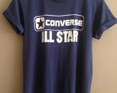 """1970's Vintage CONVERSE All Star Print """"Select"""" Navy T-Shirt ~ Recycle, Save A Tree #PIONEERTHRIFT"""