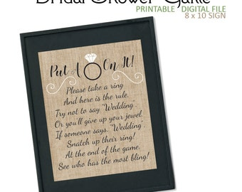 Burlap Put A Ring On It - Don't Say Wedding - Bridal Shower Game - Don't Say Bride - Don't Say It - Ring Game - Bridal Shower - Rustic