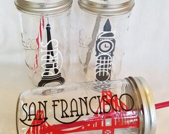 european vacation souvenir portable mason jar drink i love paris eiffel big ben london holiday eiffel - Mason Jar Drinking Glasses