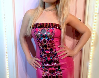 SUPER BLINGY GEMTASTIC pink faux leather dress