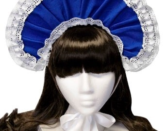 Sweet Cobalt Blue and White Bonnet - Made to Order