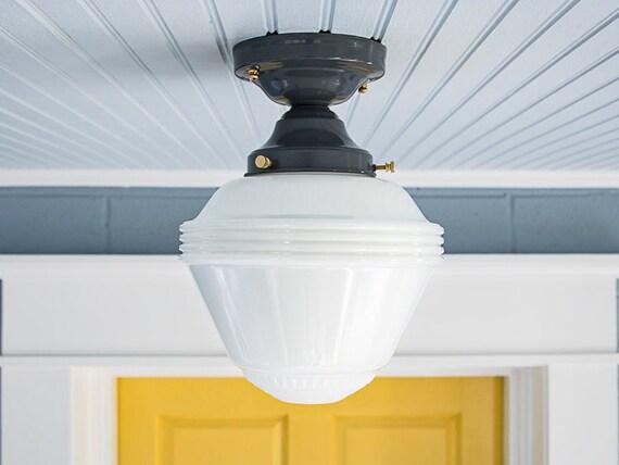 Semi Flush Ceiling Lights Glass Brass Fixture Bathroom: Vintage Rewired Schoolhouse Farmhouse Semi Flush Mount Ceiling