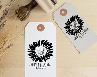 Let Love Grow Rubber Stamp, Custom Stamp, Seed Favor Stamp, Wedding Stamp, Wedding Souvenir