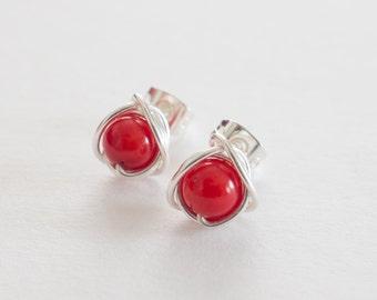 Red Stud Earrings, Red Coral Post Earrings, Small Stud Earrings, Coral Earrings, Beach Jewellery,
