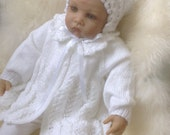 Baby Matinee Coat, Bonnet and Mary Jane Shoes Set in White to fit 3-6 month Ready to Ship Now