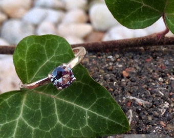 Alexandrite and Silver Ring, 5mm Wedding Ring Set, Proposal Ring, Silver Engagement Ring, Alternative Engagement Ring