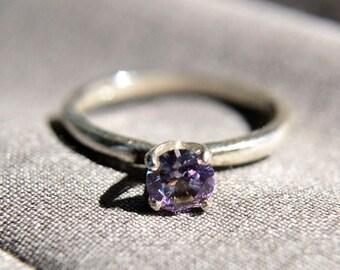 Amethyst Ring in Sterling Silver, High Polish Sterling Silver Ring with Amethyst Gemstone, February Birthstone, Abish Jewelry Works