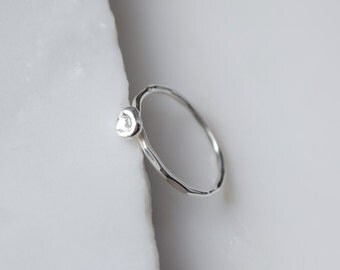 Silver Pearl Ring Dainty Silver Ring Silver Nature Ring Silver Dot Ring