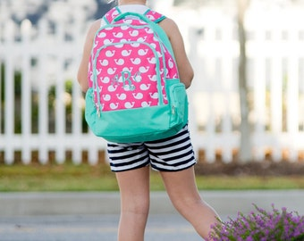 Pink & Mint Whale Design Backpack - May be Monogrammed or Personalized with Embroidered Name - Back to School Book Bag Whales Collection