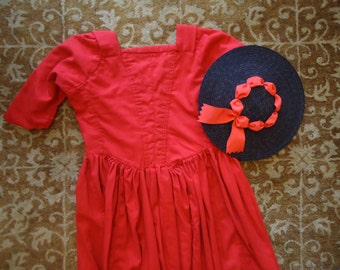 Red Wool 18th Century Gown Colonial Dress