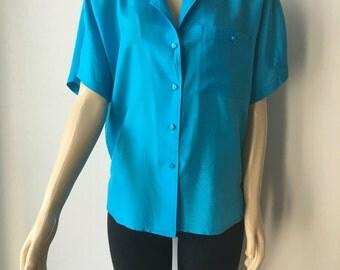 "Turquoise silk blouse vintage short dolman sleeves front pocket  padded shoulders chest 44"""