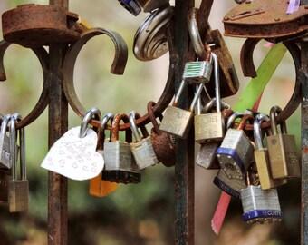 Romantic Photograph Love Locks Photo 8x10 Art Print by Prchal Art Studio