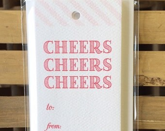 GT917 - cheers cheers cheers gift tag - set of 8
