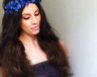 BLUE Floral Crown, Flower Crown, Boho Hair Accessory