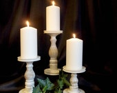 Primitive White Pillar Candle Holder Set of 3 - Lathe turned - Made in USA