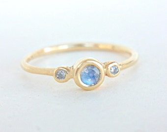 Moonstone and Diamond Ring 14k Yellow Gold Natural Moonstone Diamond Gold Ring Made in Your Size Blue Moonstone Engagement Ring