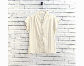 Mardi Modes Short Sleeve Cream Button-up Blouse | Cream Blouse