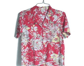 Vintage Red Floral Blouse | Red Hawaiian Blouse | Red and Yellow Flower Shirt