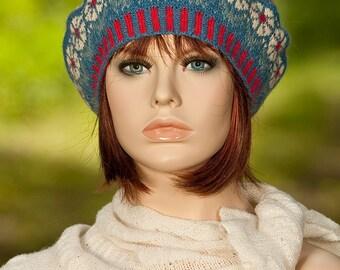 Hand knitted fair isle beret / tam, jacquard beret, flower motifs, indigo, yellow, red colors, woolen beret, woolen hat,for women, for girls