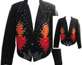 "Embroidered Black Rocker Jacket with ""Flaming"" Satin Hearts and Sequins - Fits Size Medium"
