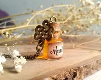 Mead bottle Necklace, Viking Pendant, Tiny Bottle necklace, Potion bottle, Vial Necklace, Honey necklace, Steampunk, Viking gift, Celtic