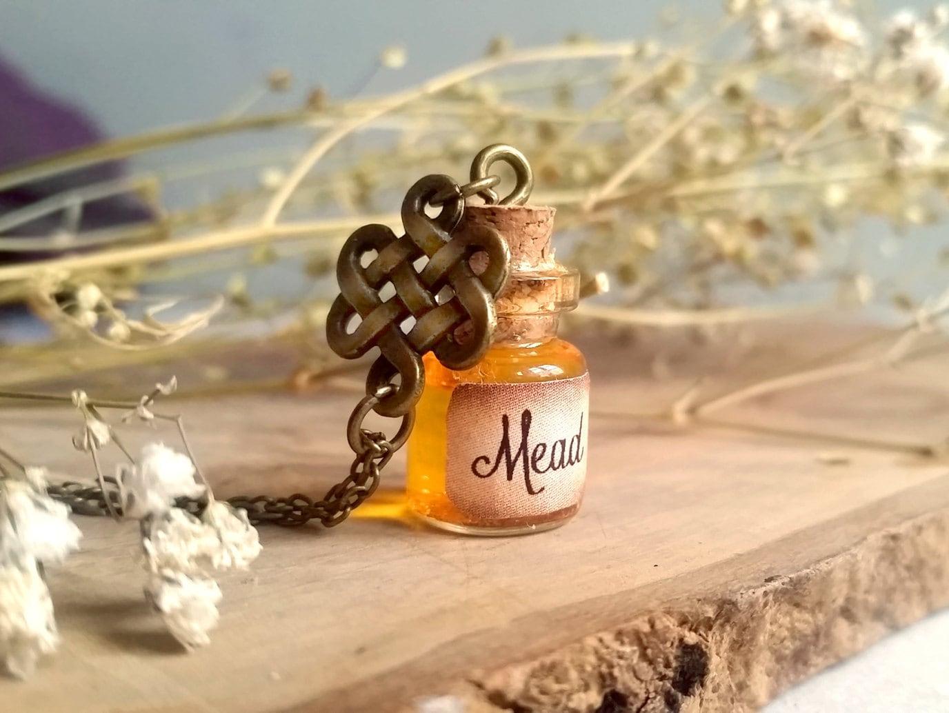 Mead Bottle Necklace Viking Pendant Tiny Bottle Necklace
