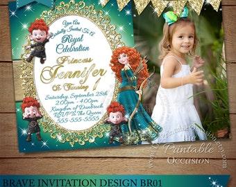 Brave Invitation, Princess Merida Invitation, Brave Birthday Party Invite, Princess Merida Birthday Party Invite, Printable Digital DIY