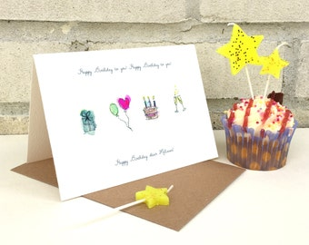 Personalised Hand Drawn Birthday Card - Special Birthday - Unique birthday Card -Hand Made Card - Made to Order
