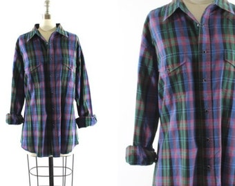plaid Wrangler shirt / snap button down shirt  / western Wrangler shirt / blue & green plaid shirt L