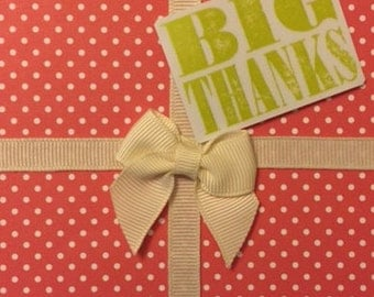 BIG THANKS Gift box with bow handmade greeting card