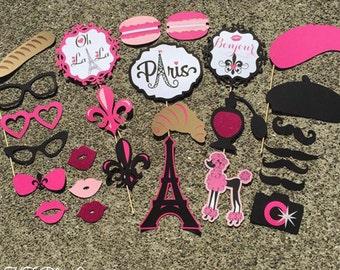 27-pc PARIS Photo Booth Props - Parisian Props - Paris Party - Paris Bridal Shower - Photobooth Props, Wedding, Bachelorette, Birthday,