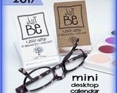 "2017 MINI Desktop Calendar on Recycled Paper, Mini CD Case, ""Just Be,"" Hand-Lettered and Doodled, Inspirational Fun Eco-Friendly Art"