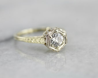 Beautiful European Cut Diamond and Filigree Engagement Ring in Green Gold KM970E-R