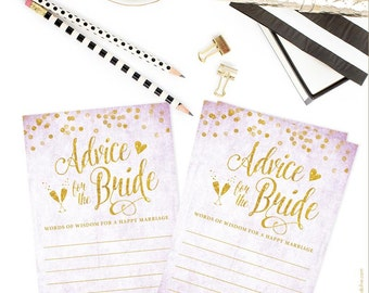 Lavender & Gold Confetti Advice for the Bride Cards -DIY Printable File - Instant Download - Purple and Gold - Digital Glitter