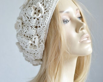 Crochet  summer women's hat beret Cream hat beret Lace beret Lace summer hat