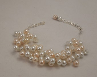 Very Elegant Wedding Bridal Multi Strand, Illusion Floating Bracelet with 6mm Cream and White Glass Pearls