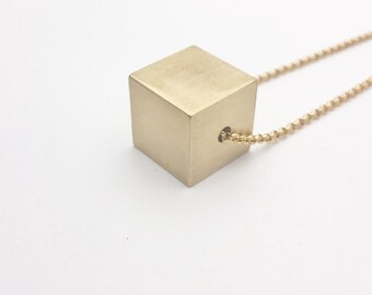 Gold Cube Minimalist Necklace stainless steel chain raw brass cube pendant 3D//Long Cube Necklace//Minimal geometric necklace hypoallergenic