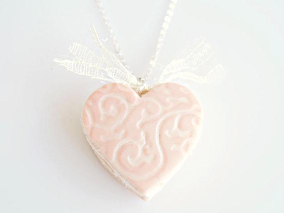Romantic Heart Macaron Necklace, Macaron Pendant, Macaron Jewelry, Romantic Jewelry, Food Jewelry, Pastel Macaron, French Macaron